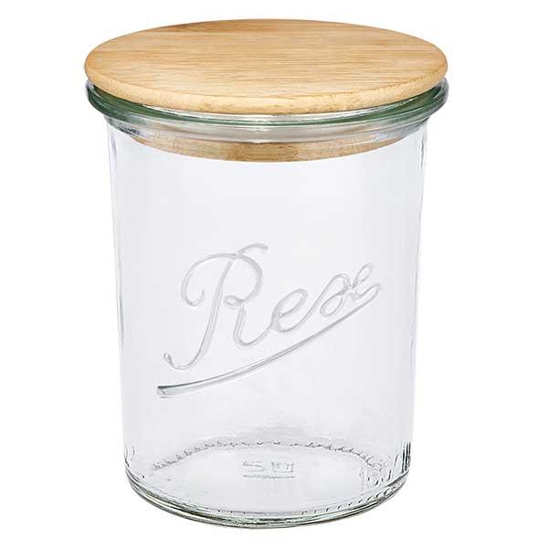REX Glas mit Holzdeckel